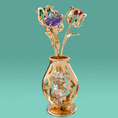 """Фігурка """"Ваза з квітами"""" Crystocraft з кристалами Swarovski (10,5 см), 0212-001/GA2, фото 2"""