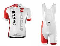 Фирменный велокостюм Focus - велошорты + веломайка на молнии, фото 1