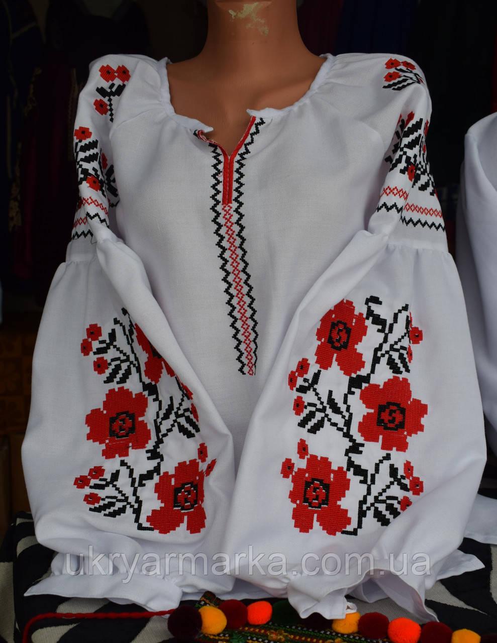 """Вишита жіноча сорочка в стилі бохо """"Черлена квітка"""""""