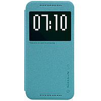 Кожаный чехол книжка Nillkin Sparkle для HTC One M9 бирюзовый, фото 1