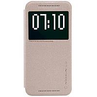 Кожаный чехол книжка Nillkin Sparkle для HTC One M9 золотистый, фото 1