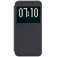 Кожаный чехол книжка Nillkin Sparkle для HTC One M9 черный, фото 1