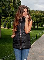 Стильная весенняя женская жилетка с капюшоном и двумя карманами чёрная M L XL XXL
