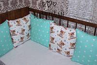 Комплект бортики - защита в кроватку на три стороны кроватки мишки