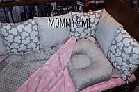 Комплект бортики - защита в кроватку на четыре стороны кроватки +простынь+подушка+плед  микки