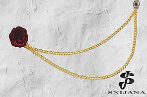 Брошь-подвеска мужская Цветок бордо + камень на цепочке