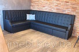 Шкіряний диван великого размра для кафе чи ресторану (Чорний)