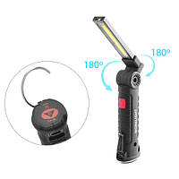 Фонарь кемпинг W-51-SMD+COB, встр. аккум., ЗУ micro USB, поворот180º+180º, магнит, зажим, крюк