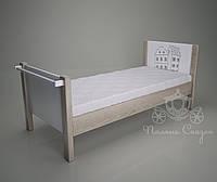 """Кровать с карнизом для Д/С и дома """"Городок"""". Ясень, МДФ."""