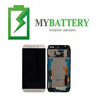 Дисплей (LCD) HTC One E8 Dual Sim с сенсором чёрный + рамка серебристая