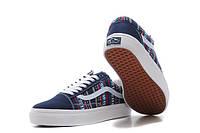 Кеды Vans Navy цветные узоры синий носок