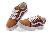 Кеды Vans Brown цветные узоры коричневый носок
