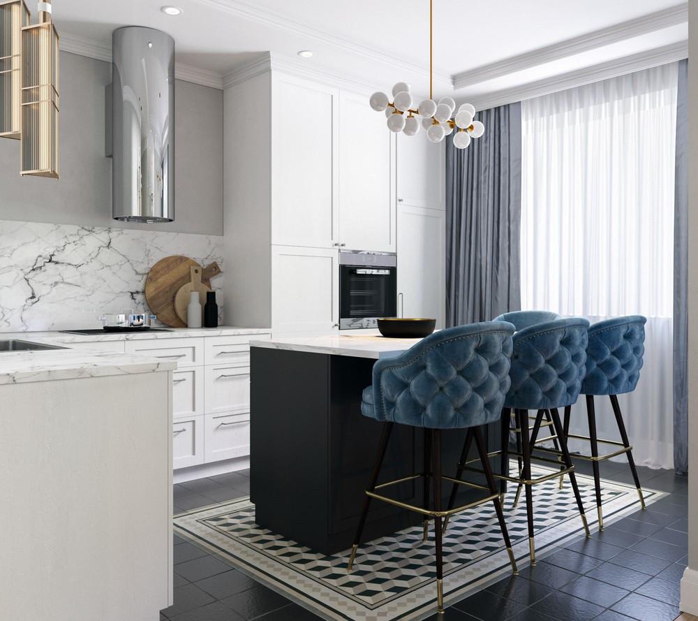 Кухня под заказ с фрезерованными фасадами под 90 градусов белым цветом. барная стойка черная