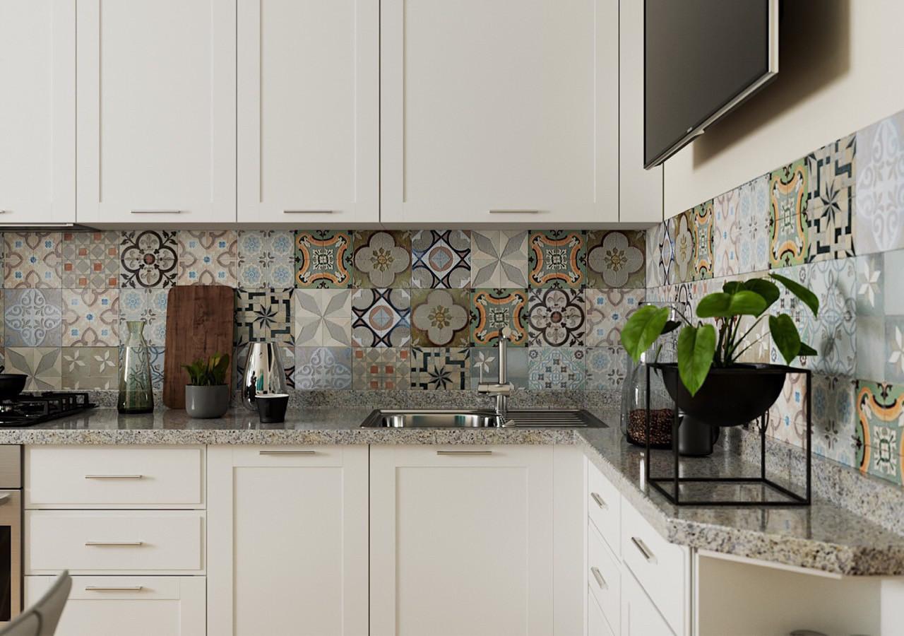 Кухня белая с фрезерованными фасадами