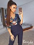 Женский стильный комбинированный брючный комбинезон (в расцветках), фото 5