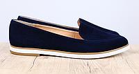 Балетки замшевые темно-синие, фото 1