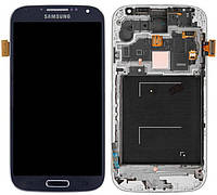 Дисплей (экран) Samsung i9500, i9505 Galaxy S4 с тачскрином и рамкой в сборе, синий