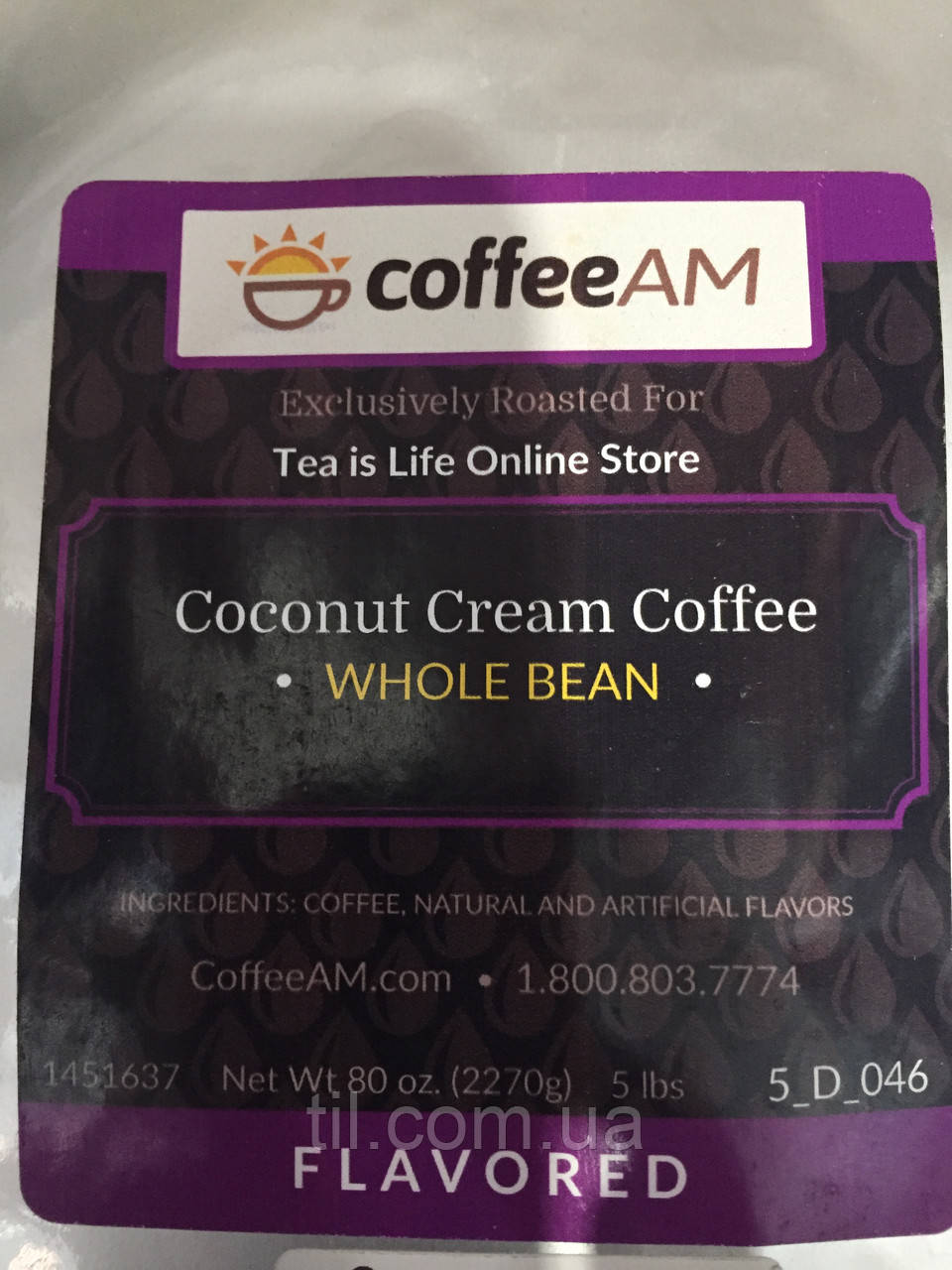 Кофе в зернах со вкусом кокосовых сливок Упаковка 226 грамм (8oz)