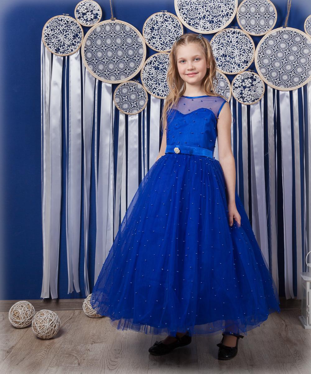 08eed59f9bd Бальное платье синего цвета на девочку 7-9 лет - Puziki.com.ua