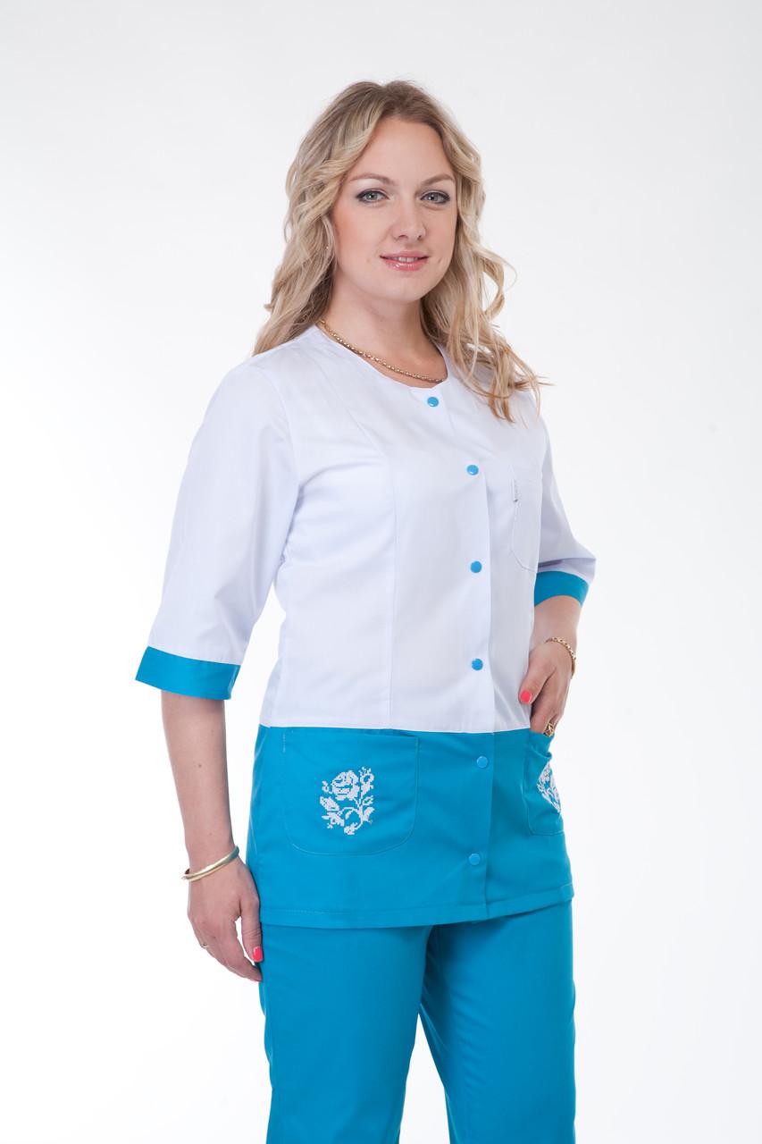 Медицинский женский костюм с вставками К-3227 ( коттон  40-56 р-р )
