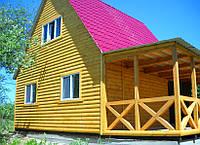 Дачный домик 6×6 блокхаус 2 этажа с террасой.