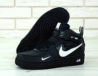 """Кроссовки мужские кожаные высокие Nike Air Force High """"Черные"""" найк аир форс р.40-45, фото 1"""