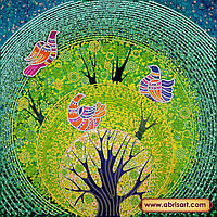 """Схема для вышивки бисером на натуральном холсте """"Райские птички"""" АС-243"""