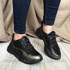 Женские кожаные кроссовки  чёрного цвета с серебряными вставками