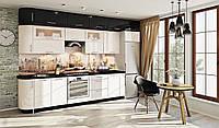 Кухня под потолок ясень белый/черный глянец