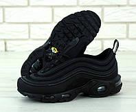 """Кроссовки мужские кожаные Nike Air Max 97 Plus """"Черные"""" найк аир макс р. 40-45, фото 1"""