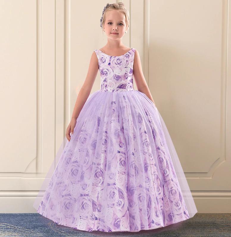 Платье сиреневые розы бальное выпускное длинное в пол нарядное для девочки в садик или школу, фото 1