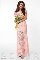 Вечернее длинное платье облегающее гипюровое к низу расклешенное без рукав нежно розовое