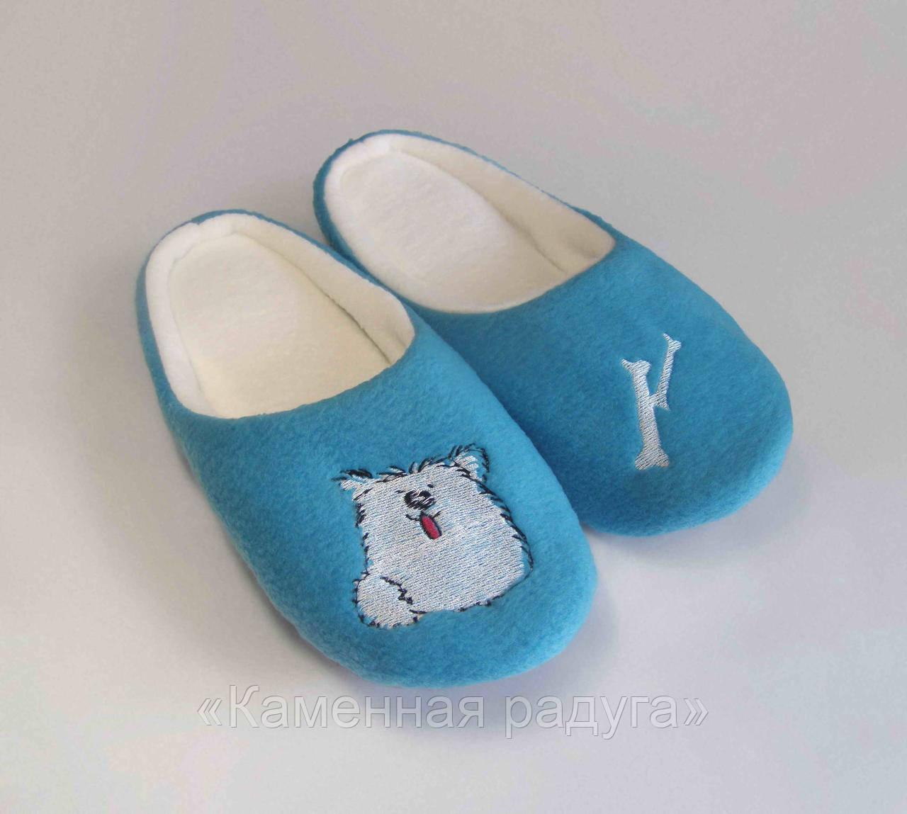 """Тапочки-шлёпки с вышивкой """"Собачка"""" (голубые)"""