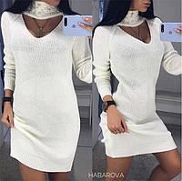 Женское вязаное платье- туника с чокером в расцветках. АХ-6-0319