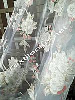 Тюль c белыми цветами