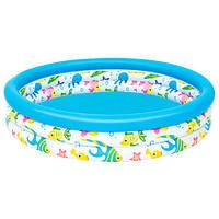 BW Бассейн детский надувной, надувной,круглый, 122-25см, 3 кольца, в кор-ке, +ПОДАРОК