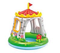Бассейн детский надувной INTEX 57122 круглый с навесом, замок, 68 л, 122-122см +ПОДАРОК