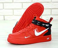 """Кроссовки мужские кожаные высокие Nike Air Force High """"Красные"""" найк аир форс р.40-45, фото 1"""