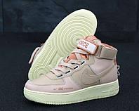 """Кроссовки женские кожаные высокие Nike Air Force high """"Розовые"""" найк аир форс р. 36-41, фото 1"""