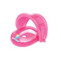 BW Круг-плотик надувной с надувной защитой от солнца, 80-85 см  (Розовый)