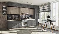 Кухня под потолок мрамор бетон серый/мрамор бетон бежевый