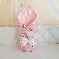 "Плед-конверт ТМ Маленькая Соня Minky ""Единорог на розовом"" розовый"