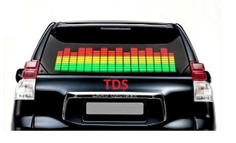 Цифровий еквалайзер на скло автомобільний 80*15 см 3 кольори червоний білий зелений