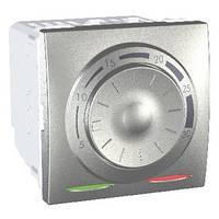 Термостат кондиционирование и отопление 8А +5...30°С Алюминий Schneider Electric Unica (MGU3.501.30), фото 1