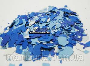 Моро-мраморные кусочки для дизайна ногтей, микс в синих тонах