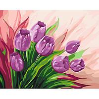 """Картина по номерам. Цветы """"Персидские тюльпаны"""" 40*50 *  KHO2924 +ПОДАРОК"""