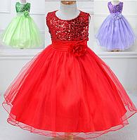 Платье красное бальное выпускное нарядное для девочки за колено., фото 1