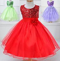 Платье красное бальное выпускное нарядное для девочки за колено.