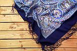 Испанский 710-14, павлопосадский платок шерстяной  с шелковой бахромой, фото 5