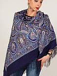 Испанский 710-14, павлопосадский платок шерстяной  с шелковой бахромой, фото 6
